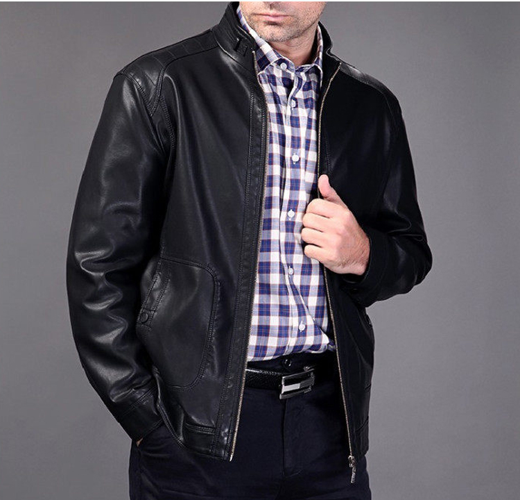 2014 spring and autumn second layer leather jacket men stand collar leather jackets free shipping