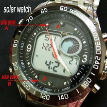 Newest Brand Design Solar Powered LED Digital Quartz Wristwatches Men 30M Waterproof Fashion Sports Military Dress Watches(China (Mainland))