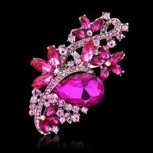 Ukuran besar Kristal Bros untuk Wanita Merah Ungu Bunga Aksesoris Bros Berlian Imitasi Bouquet Pernikahan Bros Perhiasan Kerah Pin(China)