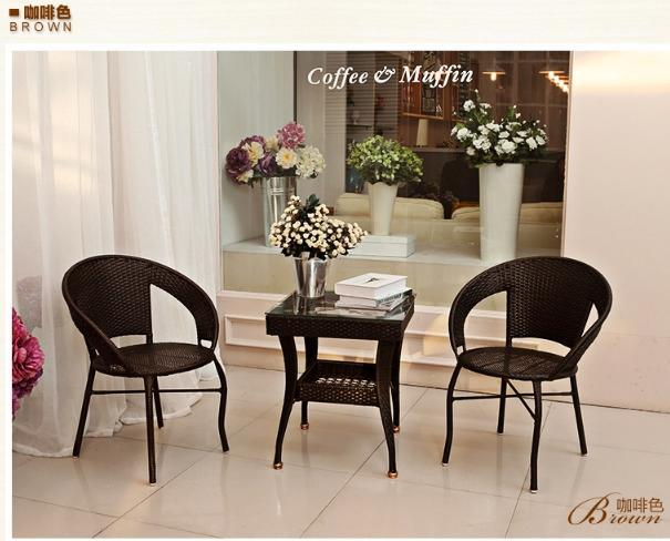 freeshipping PE rattan tea table set Outdoor tables chairs(2chairs+1table) leisure furniture wrought iron balcony chairs(China (Mainland))