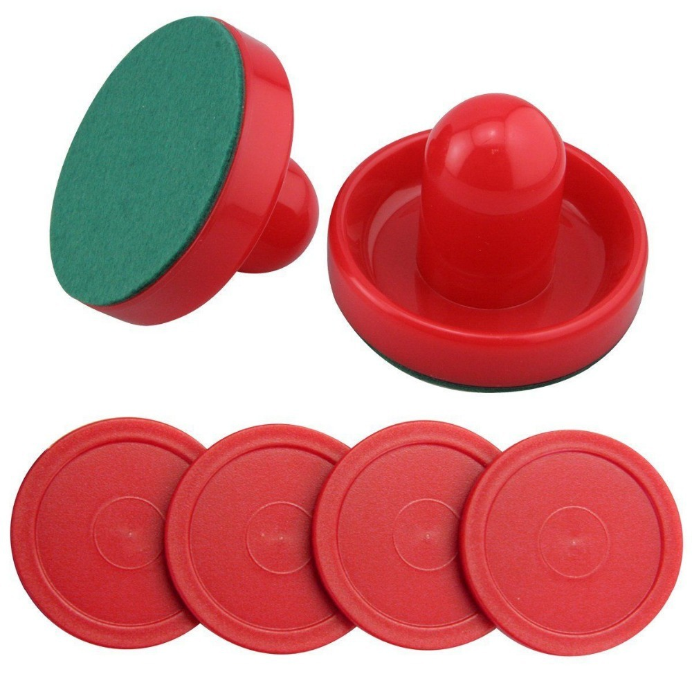 Set of Two Blue Air Hockey Pushers and Four Red Air Hockey Pucks For Free Shipping(China (Mainland))