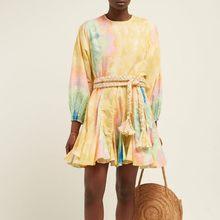 TWOTWINSTYLE אביב פרחוני הדפסה לנשים O צוואר ארוך שרוול גבוהה מותן תחבושת נקבה שמלות מקרית אופנה 2019 חדש(China)