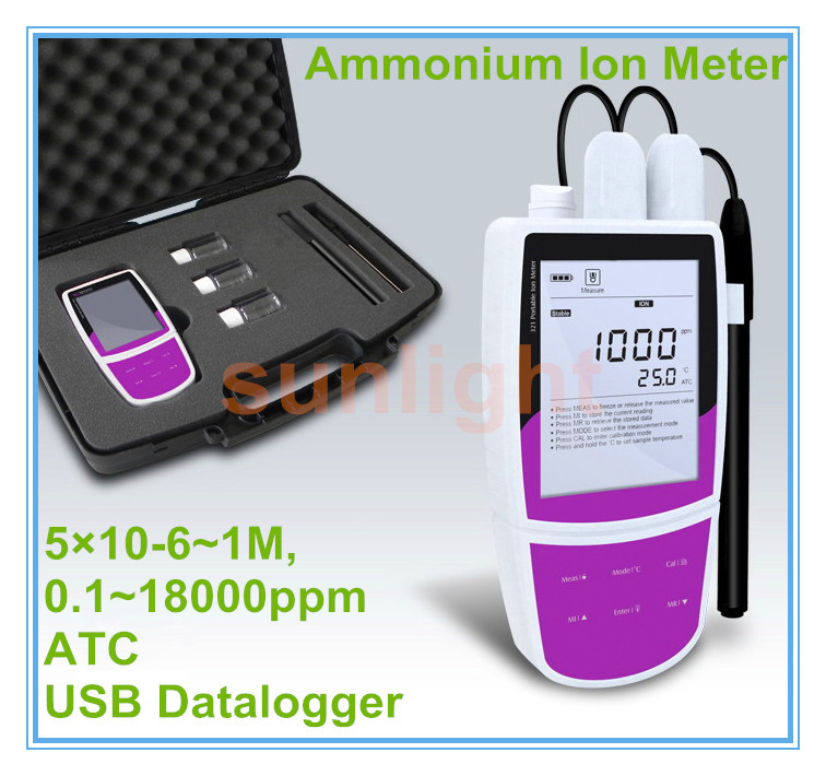 Portable Ammonium Ion Meter with USB Datalogger 5*10-6~1M, 0.1~18000ppm(China (Mainland))