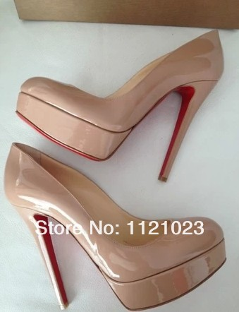 round toe nude black red pink blue patent leather real pictures woman spring Bianca 140mm heel Pumps plus big size