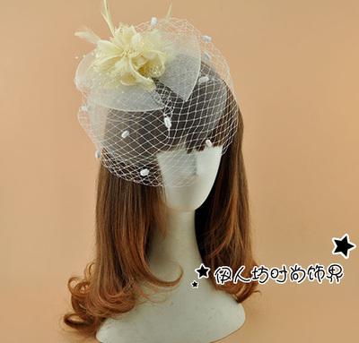 Cute Party Bridal Hats Mesh Dot Feather Flower Bow Fascinator Hats Wedding Hat Veils Wedding Bridal Birdcage Veil For Sale UK(China (Mainland))