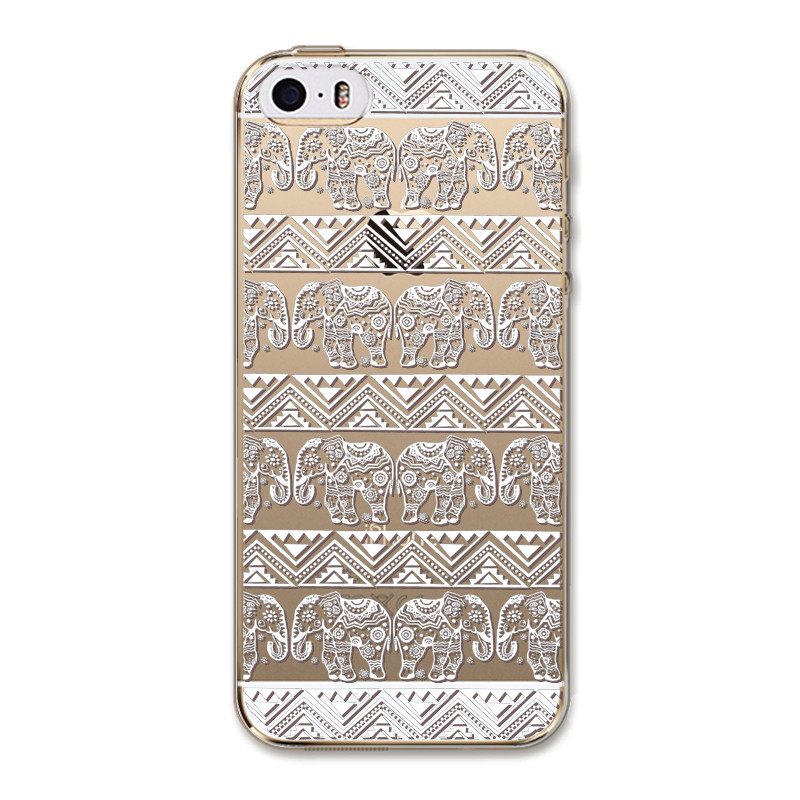 2015 White Flower Transparent Cell Soft Silicon TPU Luxury Phone Cases for Apple IPhone 5 5s SE Case Cack Cover
