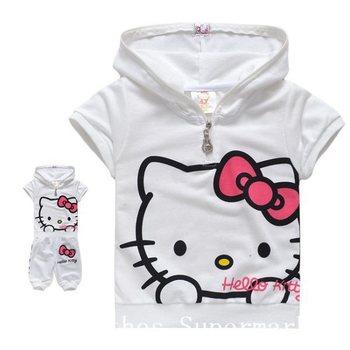 Free shipping Summer Children Suits Hello Kitty Girls Sets Baby wear Children Clothing Cotta T-shirt+Pants 5pcs/lot 90-130cm