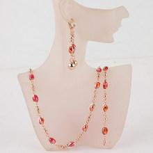 Freies Verschiffen Afrikanische Schmuck Gold Farbe Kette Kristall Perlen Halskette Armband Ohrringe Für Frauen Hochzeit Schmuck Sets Geschenk(China)