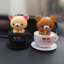 Free shipping (2 pieces/set) Rilakkuma Funny Kawaii Solar Power Bobble Head Cup Figure Car Decrotation Japanese Cute Toy Model