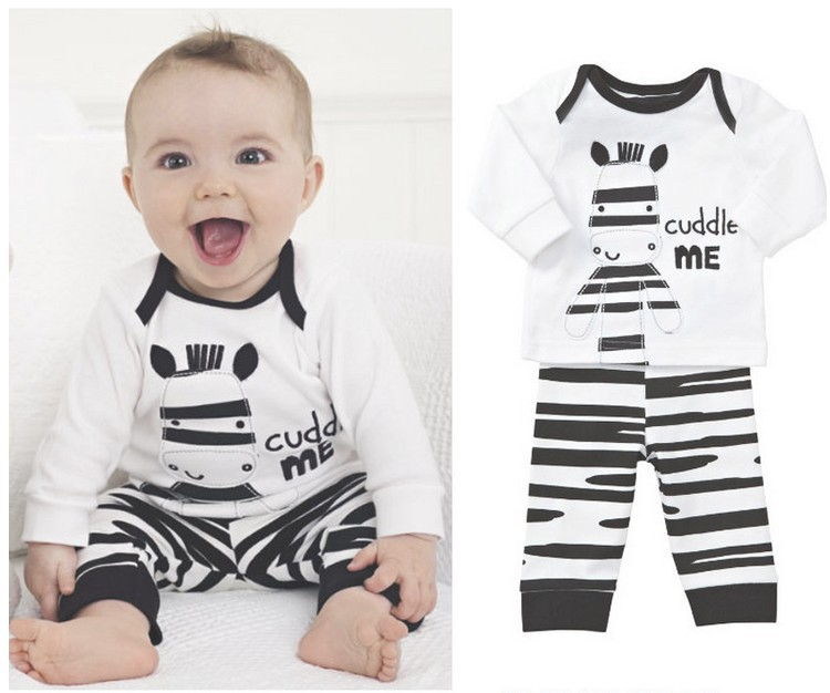 retail 2014 autumn zebra clothing suit for children/kids baby boy,tshirt + pants set,sport suit clothes,fall pajamas,baby romper(China (Mainland))