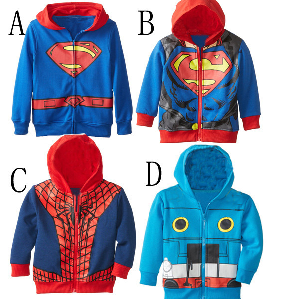 New autumn style children Cardigan coat kids cotton superman jackets child kids cartoon spiderman zipper coats for baby boys(China (Mainland))