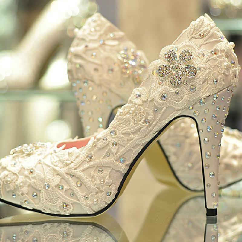 2013 Summer Womens Pumps Bride Handmade Glitter dress shoes Lace Rhinestone High Heels Wedding Shoes Plus Size31-43<br><br>Aliexpress