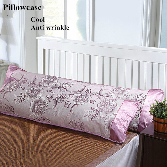 Double summer ice silk pillow case long pillowcase mat 1.2 / 1.5 / 1.8m long pillow anti wrinkle cool pillow cover free shipping(China (Mainland))