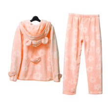 Song Riel autumn and winter 2015 sweet ladies long sleeved flannel pajamas home service package flower