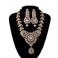 India Style Wedding Jewelry Set Crystal Rhinestone necklace earrings set Bridal Party Jewelry Accessories gold plated