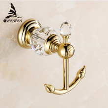 Free shipping luxury crystal & brass gold robe hook bathroom hangings gold towel rack clothes hook home decoration HK-25(China (Mainland))