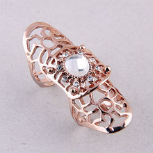 Fashion silver gold exaggerated metallic hollow inlaid crystal anel feminino bague femme rings for women F501