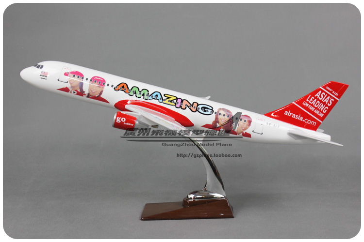 47cm Resin Air Asia Amazing Airlines Airbus A320 Airways Plane Model Airplane Model Toy Collections Decoration Gift(China (Mainland))