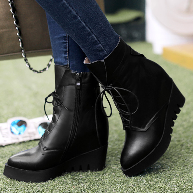 New arrive 2016 sexy pointed toe med high heels women autumn boots fashion genuine leather shoes zipper ankle boots <br><br>Aliexpress