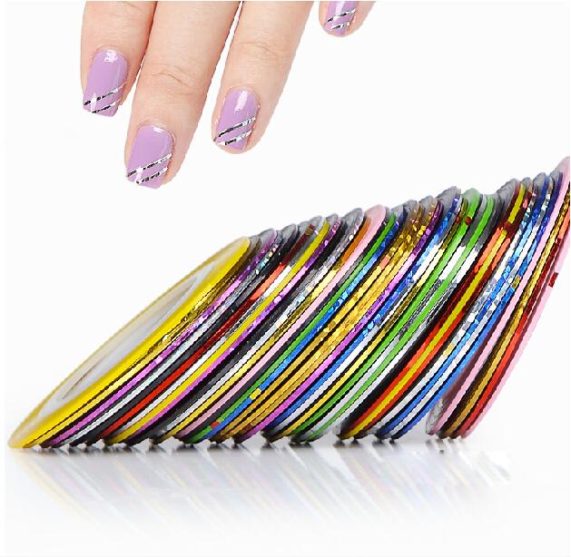 2015 New 10Pcs Mixed Colors Nail Rolls Striping Tape Line DIY Nail Art Tips Decoration Sticker Nails Care A005(China (Mainland))