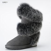 INOE Neue Luxuriöse Mode Arktischen Fuchs Pelz Winter Stiefel für Frauen Knie Hohe Warm Halten Schnee Stiefel Kuh Wildleder Leder schwarz Grau(China)