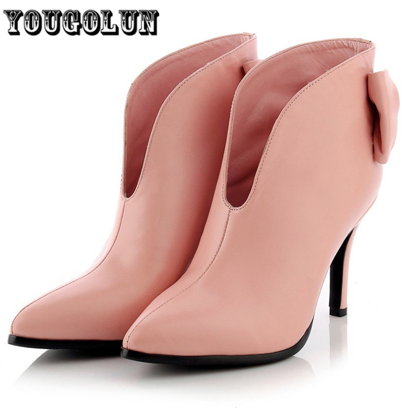 2015 Woman fashion pointed toe ladies shoes Genuine leather high heels sexy beige pink shoe Women Ankle boots autumn winter boot<br><br>Aliexpress