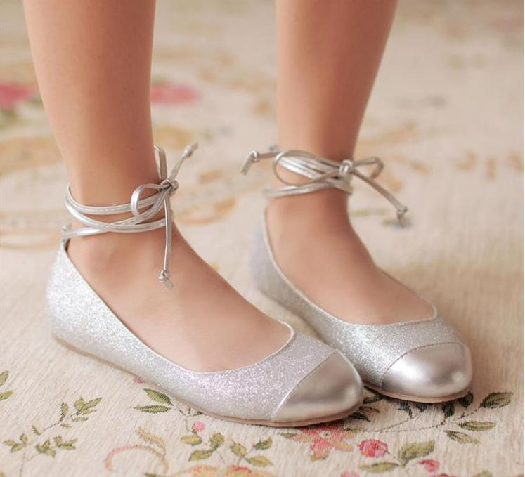 Silver Zip Up Ankle Shoes Flats
