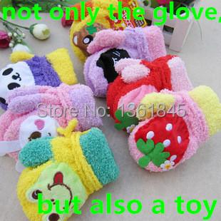 1pair Free shipping 2014 Han A sound cute kids warm gloves cartoon animal rabbit panda strawberry lanyard gloves,toy gift(China (Mainland))