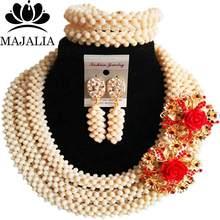 חתונה אפריקאית אופנה חרוזים חתונה ניגרי ירוק חרוזים אפריקאים הגדרת משלוח חינם קריסטל Majalia-325(China)