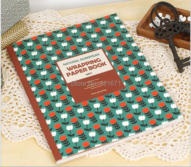 2015 Vintage Style Gift Wrapping Paper Book 24sheets/set, geometric pattern Scrapbooking pack Set,origami,DIY paper craft - ZowColor jewellry store