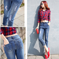 New Arrive Plus Size High Elastic and Waist Women Jeans Blue color pencil style make shape