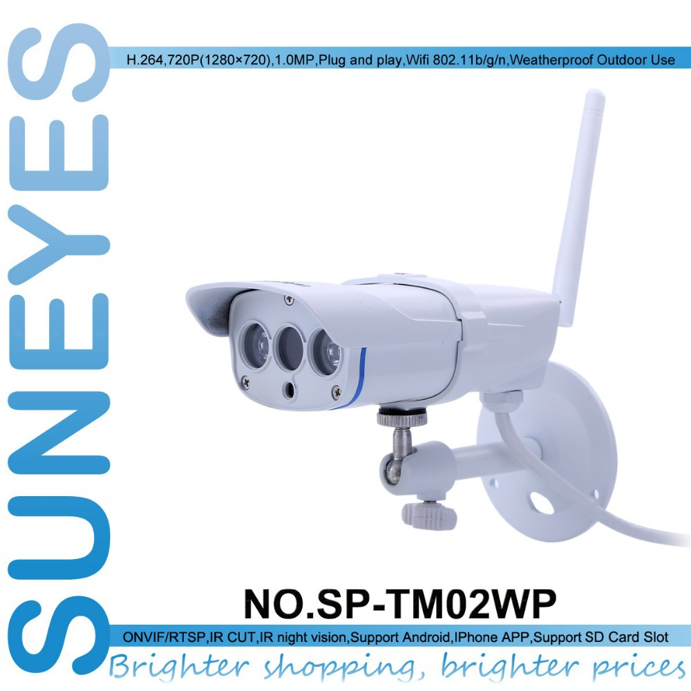 SunEyes SP-TM02WP Smart Home Wireless Wifi IP Camera 720P HD Weatherproof Outdoor with Micro SD Slot and IR Night Vision(China (Mainland))