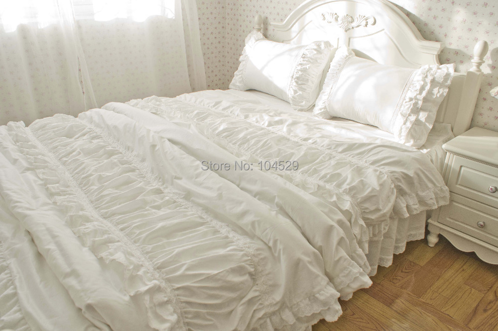 Luxury Korean Embroidered Lace Ruffle Bedding Sets Snow