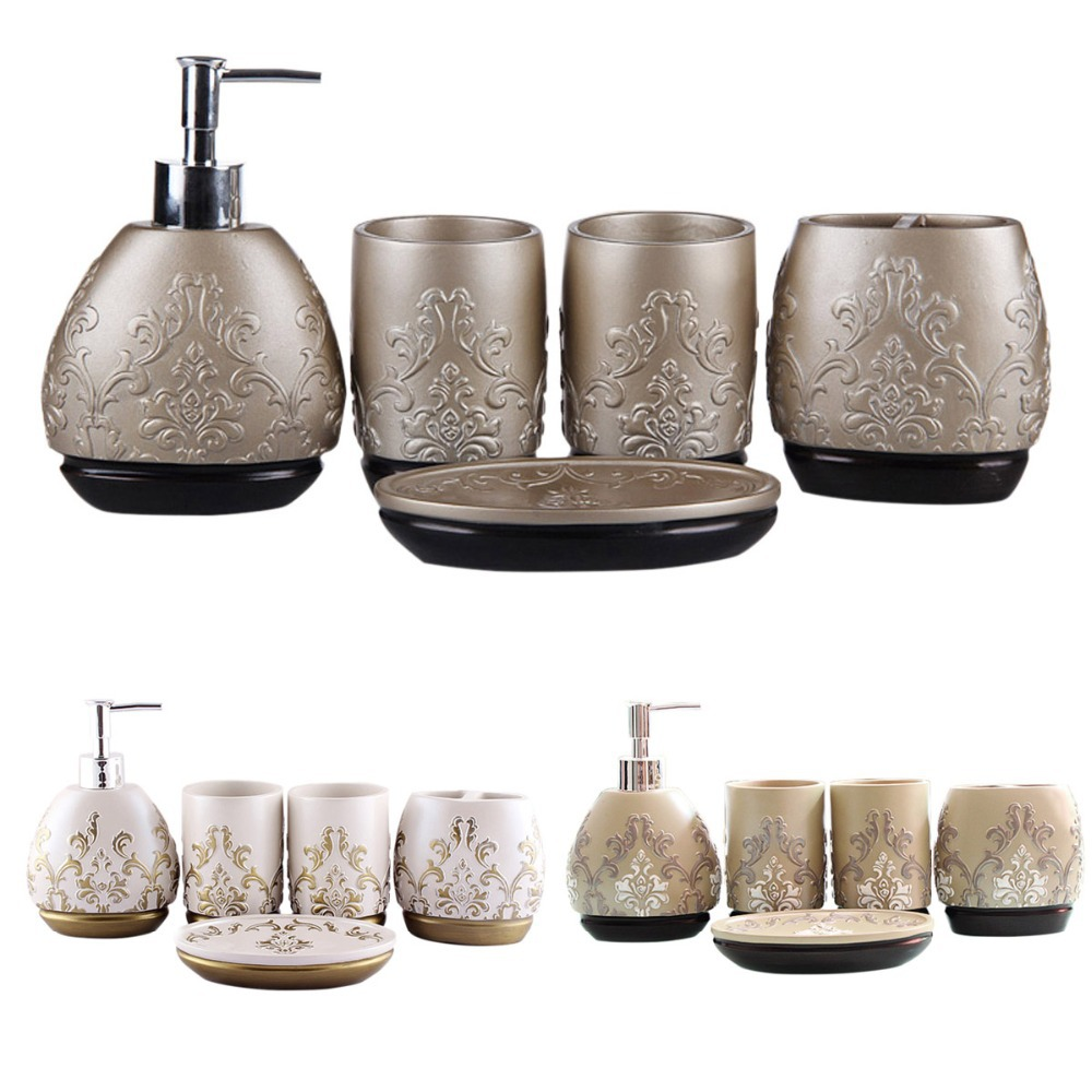 Hand Engraved Resin 5pcs Bathroom Accessory Set Soap Dish