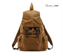 Canvas Cow Leather Outdoor Men's Women's Rucksack Backpack