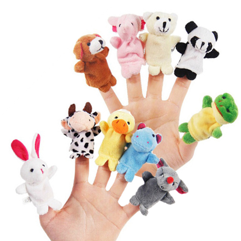 LeadingStar Hot sale 10pcs Cartoon Animal Finger Puppet Plush Toys Children Favor Dolls Milk Cow Panda Finger Puppets for Kids(China (Mainland))