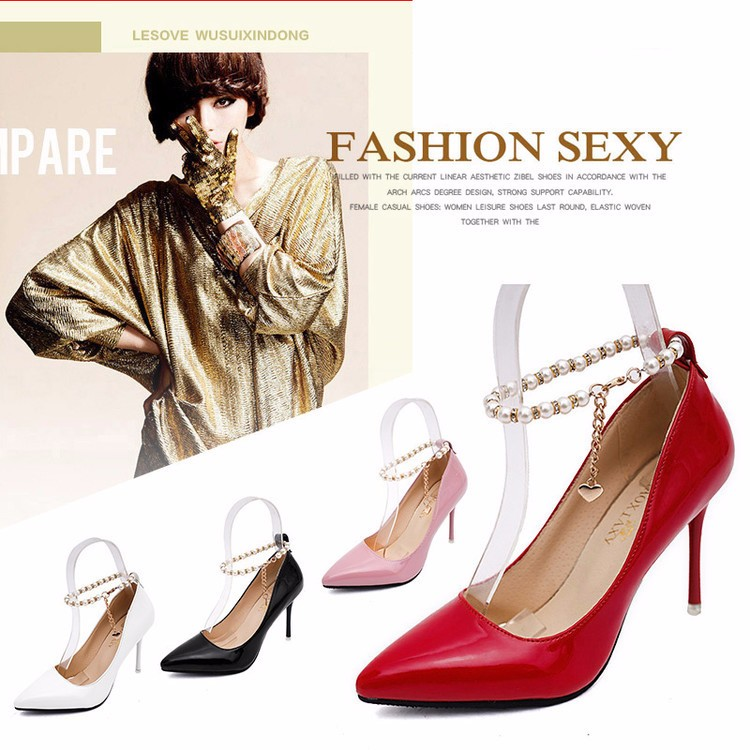 2016 New Design Chaussure Femme Zapatos Mujer Shoes Pearl Style Woman Pumps High Heels Ladies Shoes Spring Summer Shoes Z3.5