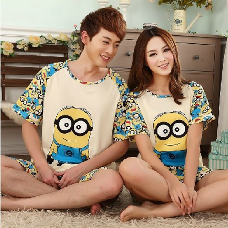 Minions Lovers sleepwear short sleeve cartoon lovers home clothing couples matching pajamas adult minion pajamas sets(China (Mainland))