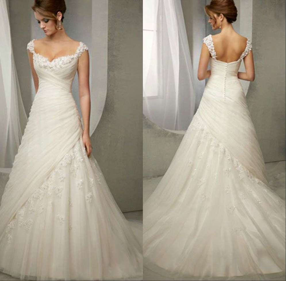 Lace wedding dress sweetheart neckline cap sleeve junoir for Wedding dresses with capped sleeves
