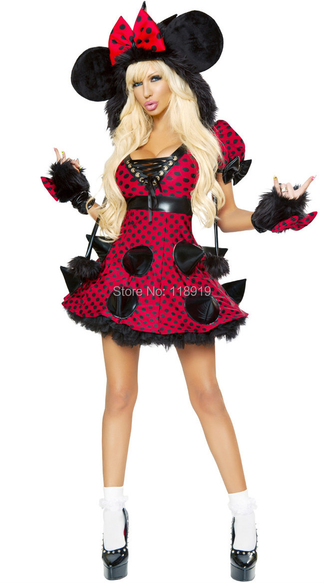 2014 New Adult Womens Sexy Halloween Party Rebellious Minnie Costumes Outfit Fancy Cosplay Dresses With Gloves(China (Mainland))