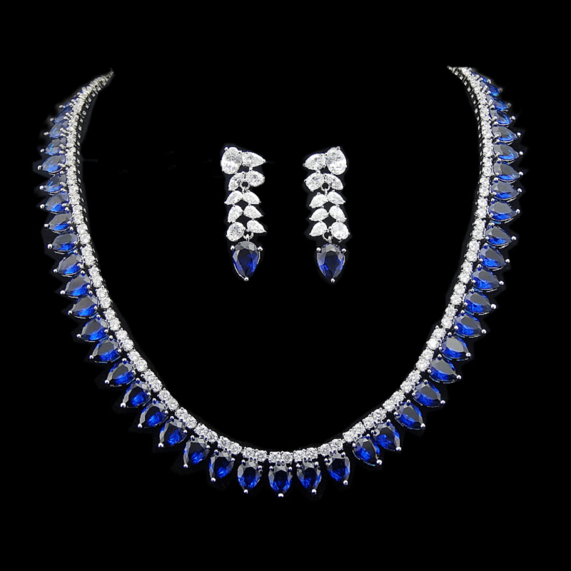 Brand Design Gorgeous Micro Inlay Full Blue Water Drop Shape CZ Diamond Collar Necklace Jewelry Sets Women