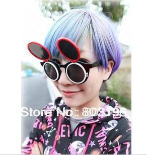 5PCS/Lot  Retro Women Men Sunglasses Fashion Round-Framed Sunglasses Fluorescence Double Clamshell Sunglasses Free Shipping