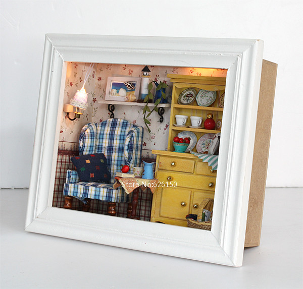 3D Diy wooden Mini house frame With lamp