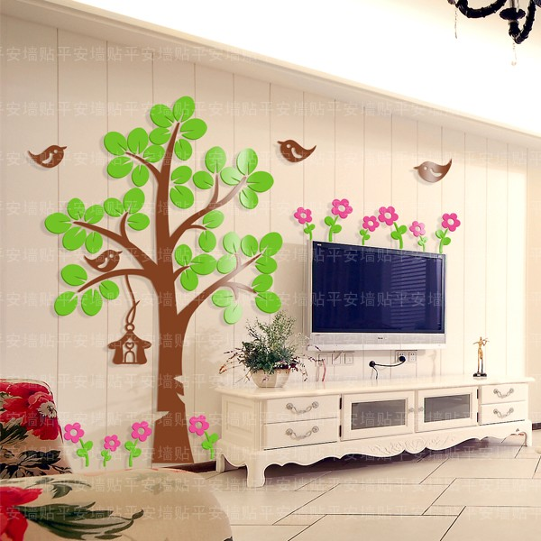 Wholesale ikea style crystal dimensional big tree bird for Bird wallpaper home decor