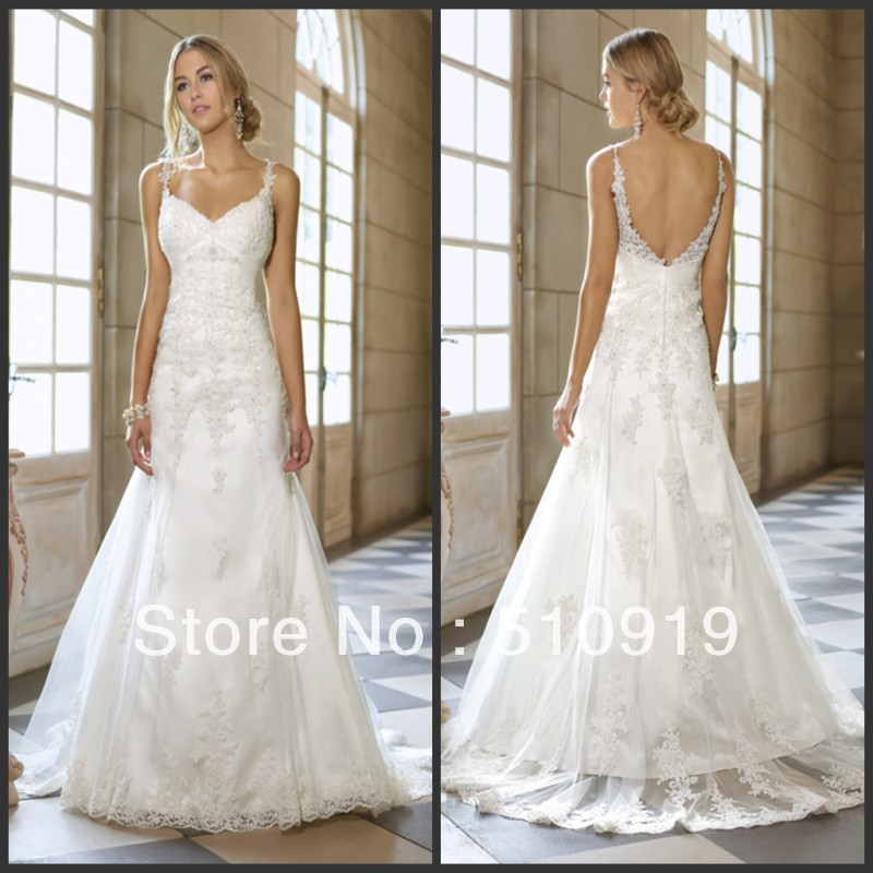 2013free shipping china factory spaghetti strap lace for Spaghetti strap low back wedding dress