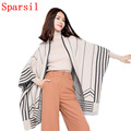Sparsil Women Spring Autumn Batwing Sleeve Cashmere Blend Cardigan Sweater Fashion Striped Contrast Colors Knitwear Sweaters