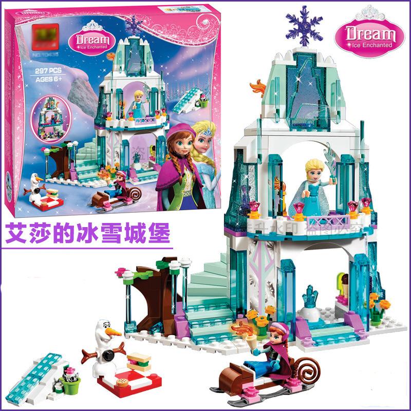 Building Blocks Girl Friends Sparkling Ice Castle Cinderella's Romantic Castle Anna Elsa Mini Figures christmas gift girl