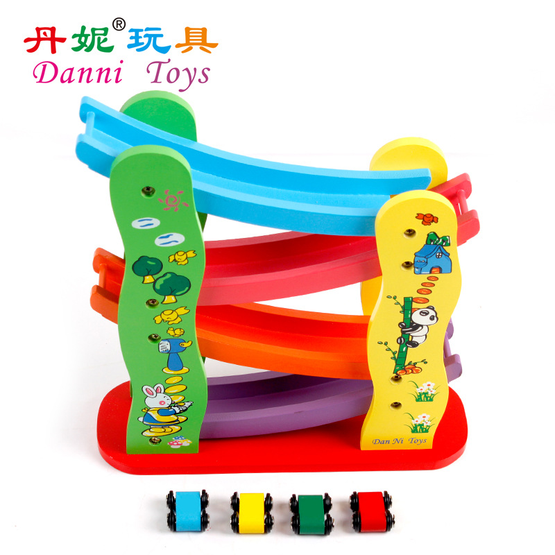 Danniqite Wooden Track Race Car Drop Glide Sliding Baby Kids Child Wooden Classic Toy(China (Mainland))