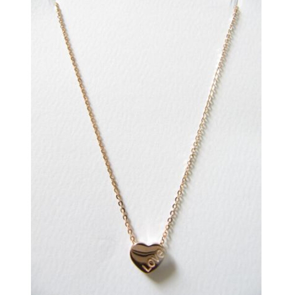 """AUTHENTIC """"AU750"""" 18K Solid Rose Gold Necklace / Heart Love Chain Necklace /Stamp """"AU750""""/ 1.72g Free shipping(China (Mainland))"""