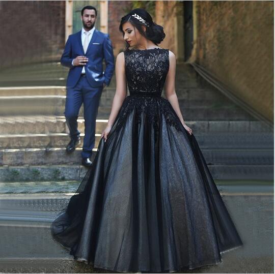 2016 Новый стиль пользовательские совок декольте рукавов платье-линии аппликация принцесса кружева тюль черный свадебные платья свадебные платья W1035